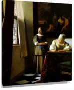 Lienzo Lady Writing a Letter with Her Maid